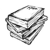 Sketch of a stack  books Stock Image