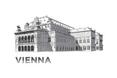 The sketch of State Opera House in Vienna Stock Photo