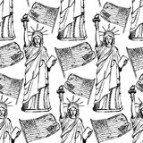 Sketch Statue of Liberty and flag,  seamless pattern Stock Photos