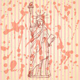 Sketch statue of liberty, vector background Royalty Free Stock Image