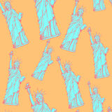 Sketch statue of liberty, vector  seamless pattern Royalty Free Stock Photos