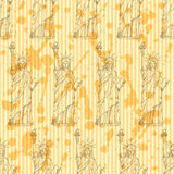 Sketch statue of liberty, vector  seamless pattern Royalty Free Stock Images