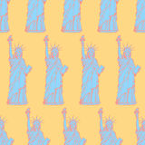 Sketch statue of liberty, vector  seamless pattern Stock Images