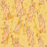 Sketch statue of liberty, vector  seamless pattern Royalty Free Stock Photography