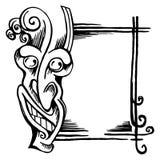 Sketch stiliserade demonhuvudet hans framsida och ram vektor illustrationer