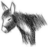 Sketch of a stilyzed donkey isolated Stock Image