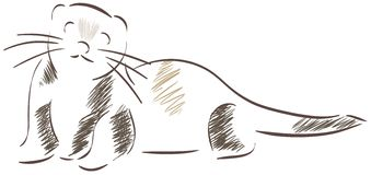 Sketch of a stilyzed ferret. Image representing a ferret. An idea that can be used also for logos Royalty Free Stock Images