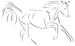 Sketch of a stilyzed running Horse isolated Stock Photos