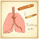 Sketch stop smoking set in vintage style Stock Photography
