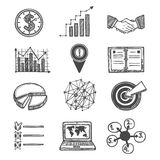 Sketch strategy and management icons. Set isolated vector illustration Royalty Free Stock Photos