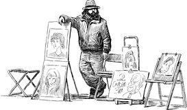 Sketch of a street artist Royalty Free Stock Photos