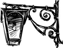 Sketch of a street lamp. Vector image of a vintage lantern on street european city royalty free illustration