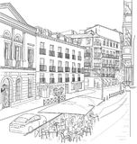 Sketch of the street of Madrid. With a street cafe. Spain Royalty Free Stock Photography
