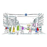 Sketch of street with pedestrians for your design royalty free illustration