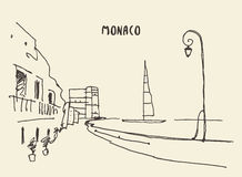 Sketch of streets in Monaco, vector drawn. Stock Images