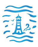 A sketch of striped lighthouse and sea waves Royalty Free Stock Images