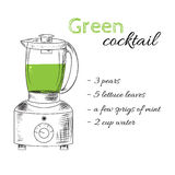 Sketch style blender with green cocktail. Vector illustration. Organic food. Recipe of drink. Healthy drink Royalty Free Stock Photography