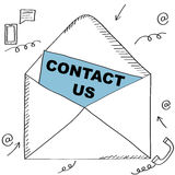 Sketch style contact us graphic with paper in an envelop Royalty Free Stock Photos