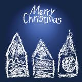 Like child`s drawing christmas house set background. Crayon funny doodle design element. Stock Image
