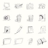Sketch style desktop icons set. Doodle objects Stock Photography