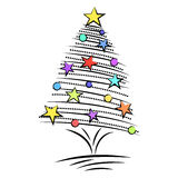 Sketch style doodle Christmas tree design Royalty Free Stock Photo