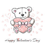 Sketch style hand drawn Bear with heart Royalty Free Stock Photography
