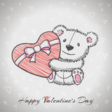 Sketch style hand drawn Bear with heart Stock Photography
