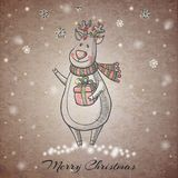 Sketch style hand drawn Christmas Deer Royalty Free Stock Image