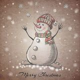 Sketch style hand drawn Snowman Royalty Free Stock Photography