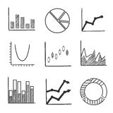 Sketch style icons of business charts and graphs. Business statistical charts and graphs with a pie graph, bar graphs, arrow graphs and flow chart with various Royalty Free Stock Image