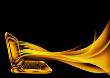 Sketch style. laptop. In fire Royalty Free Stock Photo