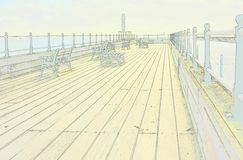 Sketch style of Littlehampton pier. England Stock Photography