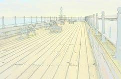 Sketch style of Littlehampton pier. England Stock Photography