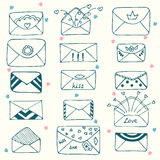 Sketch style mail, message or envelope. Hand drawn Stock Images