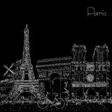 Sketch style poster with Paris symbols and landmarks.Black and white Stock Images