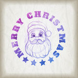 Sketch style Santa Claus portrait and Christmas message Royalty Free Stock Photography