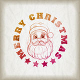 Sketch style Santa Claus portrait and Christmas message Royalty Free Stock Photo