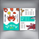Sketch style seafood restaurant, cafe menu design, vector illustration. Seafood menu template with sketched drawings of crab, fish, lobster, caviar, shrimps Stock Photography