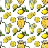 Sketch style seamless pattern of lemon, lemonade, jar and glasses Royalty Free Stock Photo