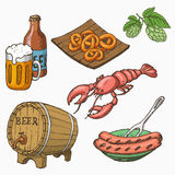 Sketch style set of beer and snacks. Stock Images