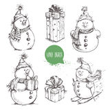 Sketch style snowman and Christmas gift boxes set. Hand drawn vector illustration Stock Photo