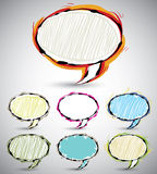 Sketch style speech bubbles. Abstract sketch style speech bubbles, set of color and shape versions. Vector banners collection Stock Photo