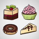 Sketch style sweets Stock Images
