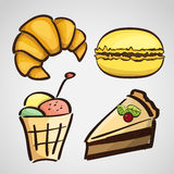Sketch style sweets - cake, croissant, macaroon Royalty Free Stock Image