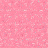 Sketch style Valentine's Day seamless pattern Stock Photo