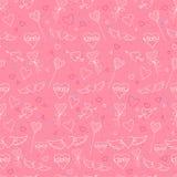 Sketch style Valentine's Day seamless pattern Stock Photo