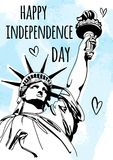 Sketch style vector illustration with Statue of Liberty for 4th of July. Happy Independence Day celebration.  Stock Image