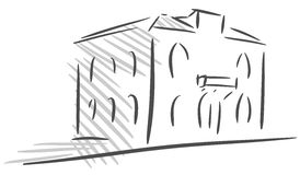 Sketch of a Stylized house isolated Royalty Free Stock Photography