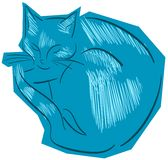 Sketch of a stylized isolated cat Stock Image