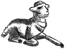 Sketch of a stylized lamb isolated Royalty Free Stock Image